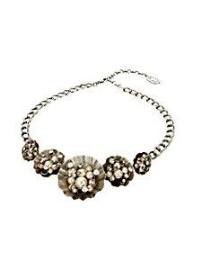 Collier femme argenté, perles et cristaux Swarovski