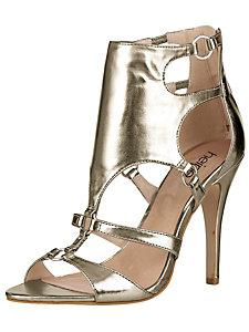 Sandales à brides dorées et à talons aiguille