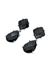 Boucles d'oreilles clips en pierres taillées noires