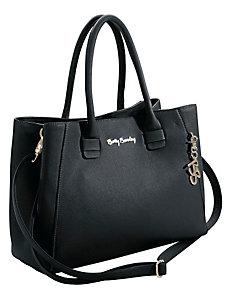 Sac à main noir, forme carrée, pendentif décoratif