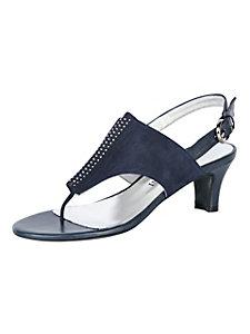 Sandales en cuir velours à brides et petits talons