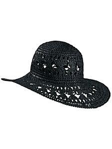 Chapeau de paille estival pour femme, imitation crochet