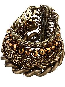 Bracelet multirangs en métal et perles, fermoir aimanté