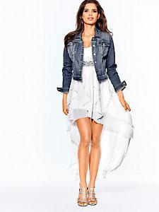Veste en jean femme coupe très courte, bleu denim
