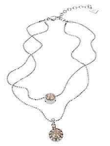 Collier double rang, pendentif pierres scintillantes