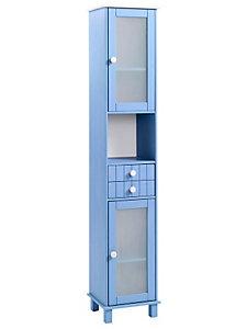 Grand meuble en colonne, en épicéa et portes en verre