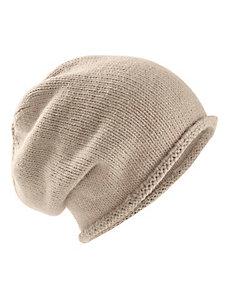 Bonnet mode forme beanie en tricot fin, bord roulotté
