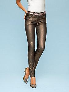 Jean droit brillant coloris cuivre effet ventre plat