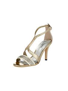 Sandales talons aiguilles, strass et brides brillantes