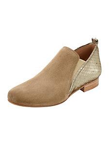 Chaussures en cuir venours et nappa, marquage reptile