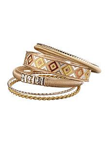Lot de 6 bracelets en textile, métal style bohème