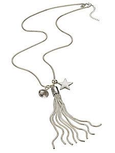 Collier sautoir fantaisie en métal à pompon et étoile