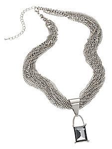 Collier multi rangs chic en métal avec pendentif pierre