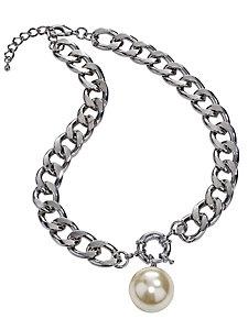 Collier en métal à chainons larges et perle