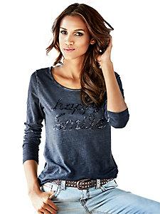 T-shirt femme à manches longues orné de sequins