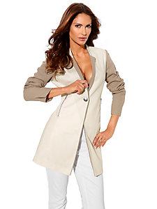 Veste blazer long élégant, effet patchwork manches 3/4