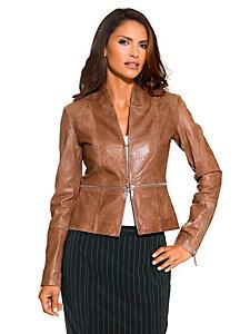 Veste féminine en cuir ajusté avec fermeture originale