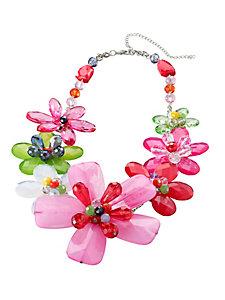 Collier tendance femme, motif floral pierres et perles