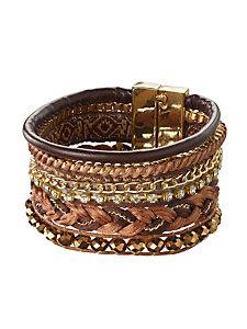 Bracelet manchette large en tissu et métal
