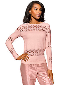 Pull-over original femme, manches longues et col rond