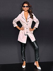 Trench-coat rose poudré, boutons et ceinture à nouer