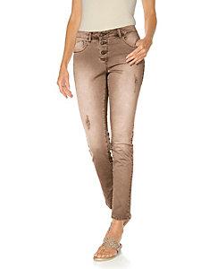 Pantalon slim délavé à boutons et déchirures originales