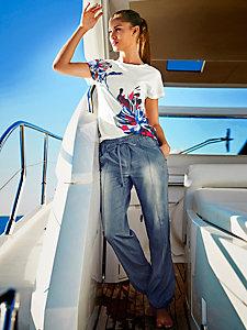 T-shirt basique à motif fleuri tendance, coupe confort