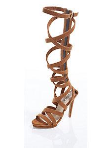 Sandalettes montantes aspect velours, brides croisées