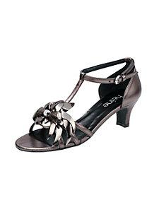 Sandalettes en cuir à brides et fleur devant