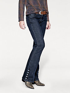 Pantalon jean bootcut femme avec boutons fantaisie