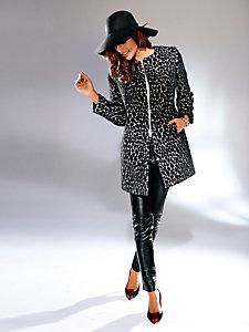 Manteau court imprimé animal sans col