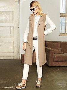 Gilet long sans manches tendance en laine, à poches