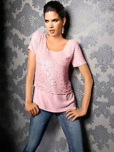 T-shirt tendance en voile et à paillettes pour femme
