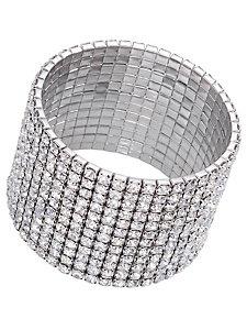 Bracelet manchette en strass glamour