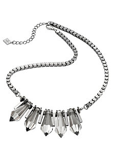 Collier plastron, pierres en verre massives