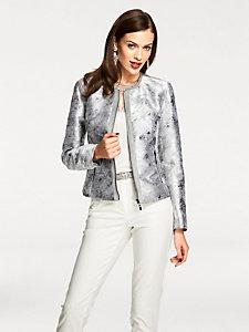 Veste blazer originale effet métalisé fermeture éclair
