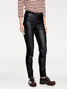 Pantalon leggings femme à taille élastiquée aspect peau