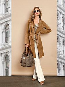 Manteau en cuir, chevreau velours