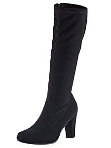 Bottes montantes noires pour femme, talons de 7,5 cm
