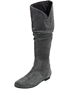 Bottes femme en cuir velours gris à enfiler