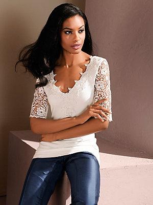 T-shirt élégant pour femme avec manches en dentelle