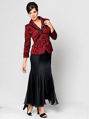 Veste luxeuse avec col à revers et motifs floraux