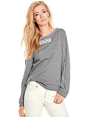 T-shirt gris femme, col orné de pierres bijou