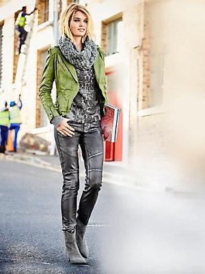Veste en cuir femme style motard, col tailleur élégant