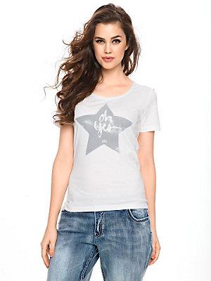 T-shirt effet délavé écritures en sequins sur l'avant