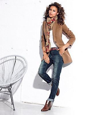 Veste blazer longue cintrée à col tailleur et poches