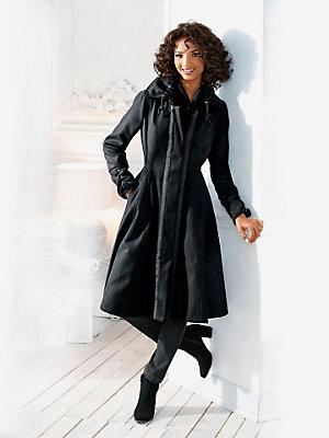 Manteau long à boutons femme, taille ajustée