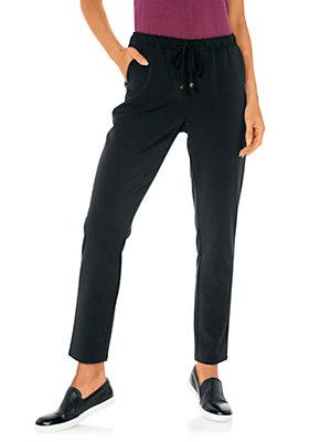 Pantalon noir décontracté femme à ceinture élastique