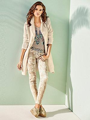 Veste longue en tricot beige pour femme à gros bouton