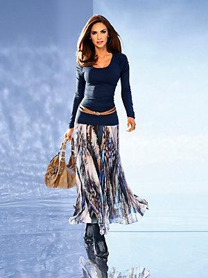 T-shirt femme bleu marine cintré à détails froncés